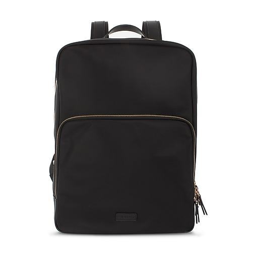 Bugatti Slim Backpack, Nylon with Leather Trims, Black (BKP121-BLACK)