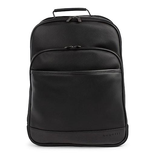 Bugatti Gin & Twill Backpack, Textured Vegan Leather, Black (BKP2018BU-BLACK)