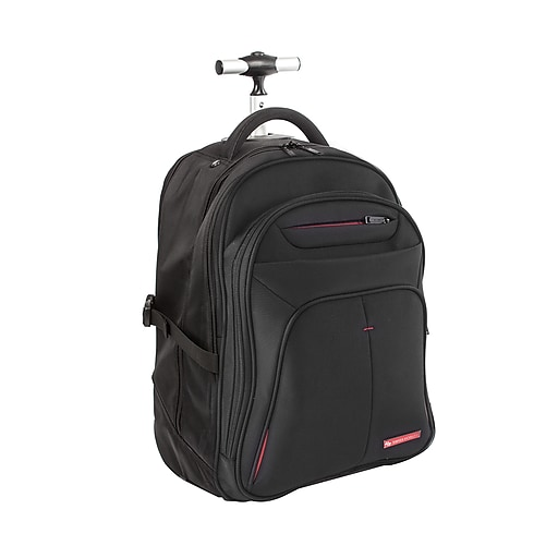 "Swiss Mobility Purpose Overnight Backpack On Wheels, Polyester, Black, 16"" L x 9"" W x 12"" H (BKPW1006SMBK)"