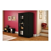 """South Shore Morgan 57.75"""" Particle Board Storage Cabinet with 4 Shelves, Pure Black (7270970)"""