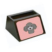 Carolines Treasures Checkerboard Pink Silver Gray Poodle Business Card Holder (CRlT65624)