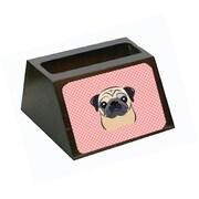 Carolines Treasures Checkerboard Pink Fawn Pug Decorative Desktop Wooden Business Card Holder (CRlT65627)