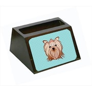Carolines Treasures Checkerboard Blue Yorkie Yorkishire Terrier Business Card Holder (CRlT65387)