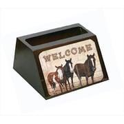Carolines Treasures Welcome Mat With Horses Decorative Desktop Professional Wooden Business Card Holder (CRlT56042)