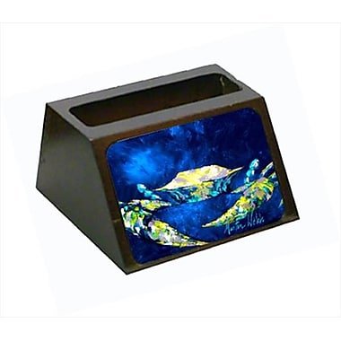 Carolines Treasures Crab Blue Decorative Desktop Professional Wooden Business Card Holder (CRlT55395)