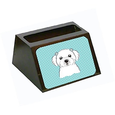 Carolines Treasures Checkerboard Blue Maltese Decorative Desktop Wooden Business Card Holder (CRlT65400)