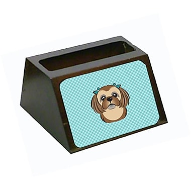 Carolines Treasures Checkerboard Blue Chocolate Brown Shih Tzu Business Card Holder (CRlT65508)