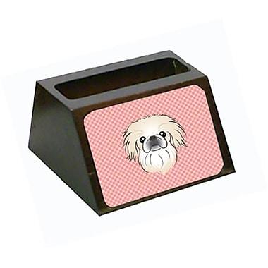 Carolines Treasures Checkerboard Pink Pekingese Decorative Desktop Wooden Business Card Holder (CRlT65590)