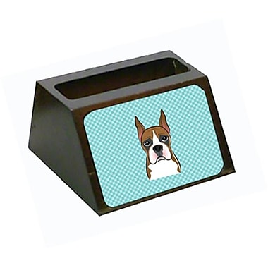 Carolines Treasures Checkerboard Blue Boxer Decorative Desktop Wooden Business Card Holder (CRlT65429)