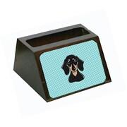 Carolines Treasures Checkerboard Blue Smooth Black And Tan Dachshund Business Card Holder (CRlT65415)