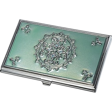Visol Visol Ivy light Green With Embedded Crystals Business Card Case (VISOl2759)