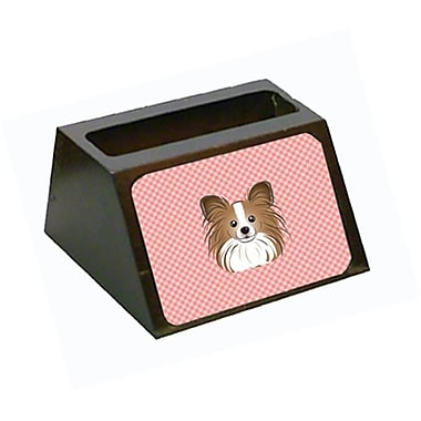 Carolines Treasures Checkerboard Pink Papillon Decorative Desktop Wooden Business Card Holder (CRlT65613)
