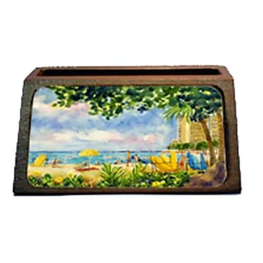 Carolines Treasures Beach Resort View From The Condo Decorative Desktop Professional Wooden Business Card Holder (CRlT16359)
