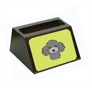 Carolines Treasures 4 x 1.25 x 2 In. Checkerboard lime Green Silver Gray Poodle Business Card Holder (CRlT63504)