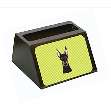 Carolines Treasures 4 x 1.25 x 2 In. Checkerboard lime Green Doberman Business Card Holder (CRlT63428)