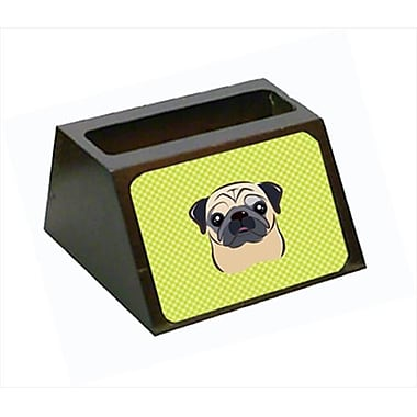 Carolines Treasures 4 x 1.25 x 2 In. Checkerboard lime Green Fawn Pug Business Card Holder (CRlT63510)