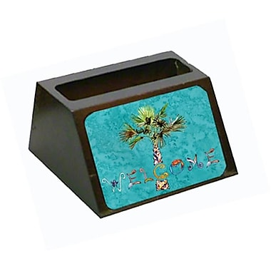 Carolines Treasures Welcome Palm Tree On Teal Business Card Holder (CRlT80635)