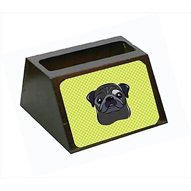 Carolines Treasures 4 x 1.25 x 2 In. Checkerboard lime Green Black Pug Business Card Holder (CRlT63513)
