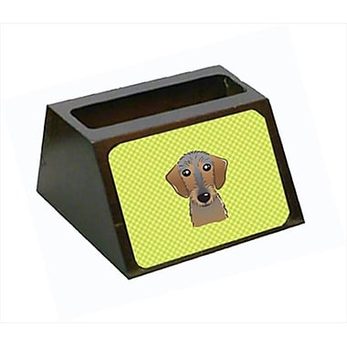 Carolines Treasures 4 x 1.25 x 2 In. Checkerboard lime Green Wirehaired Dachshund Business Card Holder (CRlT63405)