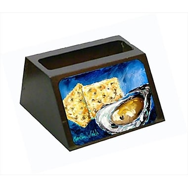 Carolines Treasures Oysters Two Crackers Decorative Desktop Professional Wooden Business Card Holder (CRlT55119)