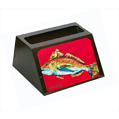 Carolines Treasures Fish - Red Fish Woo Hoo Decorative Desktop Professional Wooden Business Card Holder (CRlT55639)