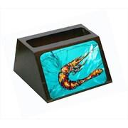 Carolines Treasures Shrimp Teal Shrimp Decorative Desktop Professional Wooden Business Card Holder (CRlT55394)