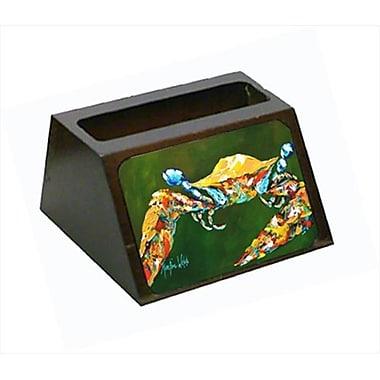 Carolines Treasures Go Green Crab Decorative Desktop Professional Wooden Business Card Holder (CRlT55658)