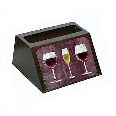 Carolines Treasures Three Glasses Of Wine Purple Decorative Desktop Professional Wooden Business Card Holder (CRlT56056)