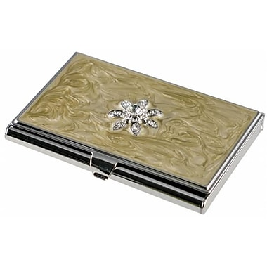 Visol Visol Bloom Taupe lacquer with Flower Crystals Womens Business Card Case (VISOl2773)