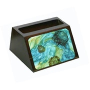 Carolines Treasures Abstract In Teal Flowers Business Card Holder (CRlT80648)
