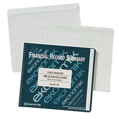 Ekonomik Systems Wirebound Check Register Accounting System, 8.75 x 10 - 40 Pages (AZTY05050)