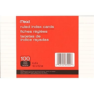 Meadwestvaco Mead Index Cards 4 x 6 Ruled (EDRE41158)