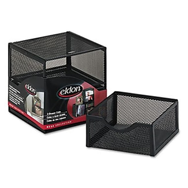 Eldon Office Products Organization Two-Drawer Cube, Wire Mesh, Storage, 6 x 6 x 6, Black (AZERTY21167)