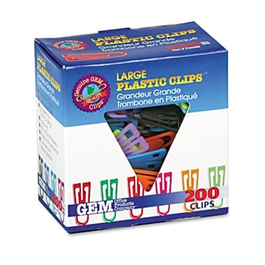 Gem Paper Clips Plastic large - 1.38 in. - Assorted Colors 200- Box (AZERTY3822)