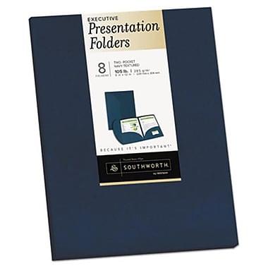 Southworth 9 x 12 Two-Pocket Presentation Folders, Navy (AZTY14735)