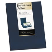 Southworth 9 x 12 Two-Pocket Presentation Folders, Navy (AZTY14735)