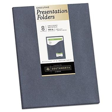 Southworth 9 x 12 One-Pocket Presentation Folders, Gray Metallic (AZTY14739)