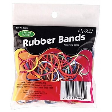 A andamp; W Products 1.5 Oz Assorted Color Rubber Bands - Pack of 12 (JNSN17934)