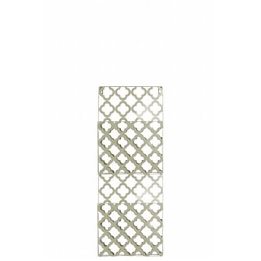 Urban Trends Collection Metal Rectangular Wall Mail Organizer w/ 2 Tiers and Peforated Quatrefoil Pattern -Champagne (UBNT4365)