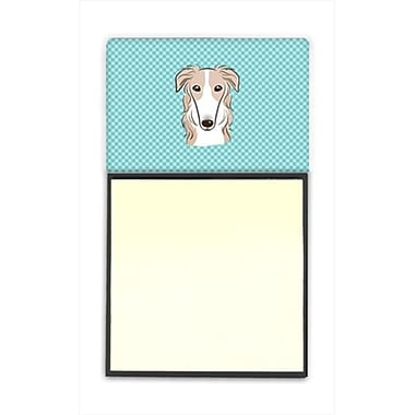 Carolines Treasures Checkerboard Blue Borzoi Refiillable Sticky Note Holder Or Postit Note Dispenser, 3 x 3 In. (CRlT65063)