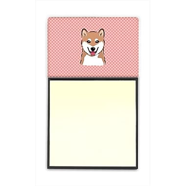 Carolines Treasures Checkerboard Pink Shiba Inu Refiillable Sticky Note Holder Or Postit Note Dispenser, 3 x 3 In. (CRlT65178)