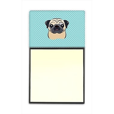 Carolines Treasures Checkerboard Blue Fawn Pug Refiillable Sticky Note Holder Or Postit Note Dispenser, 3 x 3 In. (CRlT65133)