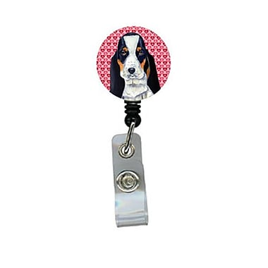 Carolines Treasures Basset Hound Valentines love And Hearts Retractable Badge Reel Or Id Holder With Clip (CRlT27511)