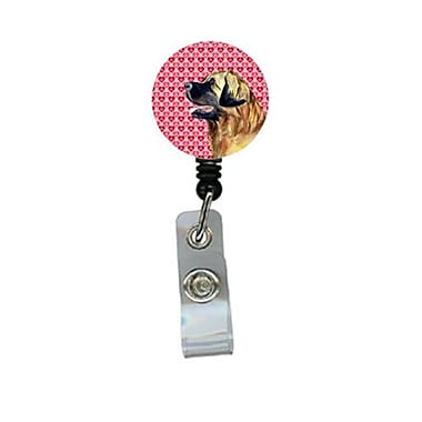 Carolines Treasures leonberger Valentines love and Hearts Retractable Badge Reel or ID Holder with Clip (CRlT28777)