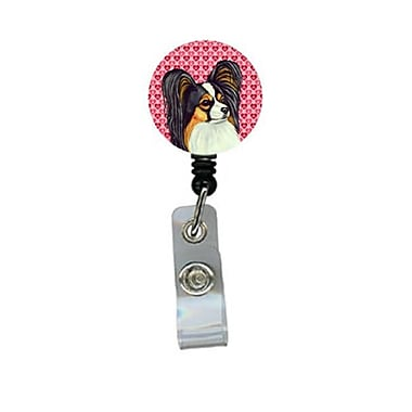 Carolines Treasures Papillon Valentines love and Hearts Retractable Badge Reel or ID Holder with Clip (CRlT28752)