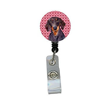 Carolines Treasures Dachshund Valentines love and Hearts Retractable Badge Reel or ID Holder with Clip (CRlT28496)