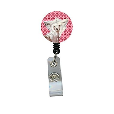 Carolines Treasures Chinese Crested Valentines love and Hearts Retractable Badge Reel or ID Holder with Clip (CRlT28767)