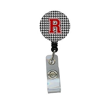 Carolines Treasures Houndstooth Black Initial R Monogram Initial Retractable Badge Reel Or Id Holder With Clip (CRlT29267)