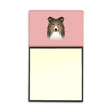 Carolines Treasures Checkerboard Pink Sheltie Refiillable Sticky Note Holder Or Postit Note Dispenser, 3 x 3 In. (CRlT65211)