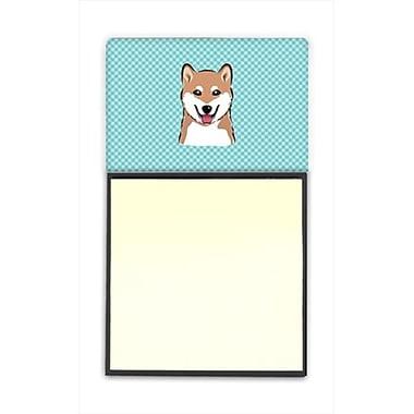 Carolines Treasures Checkerboard Blue Shiba Inu Refiillable Sticky Note Holder Or Postit Note Dispenser, 3 x 3 In. (CRlT65057)
